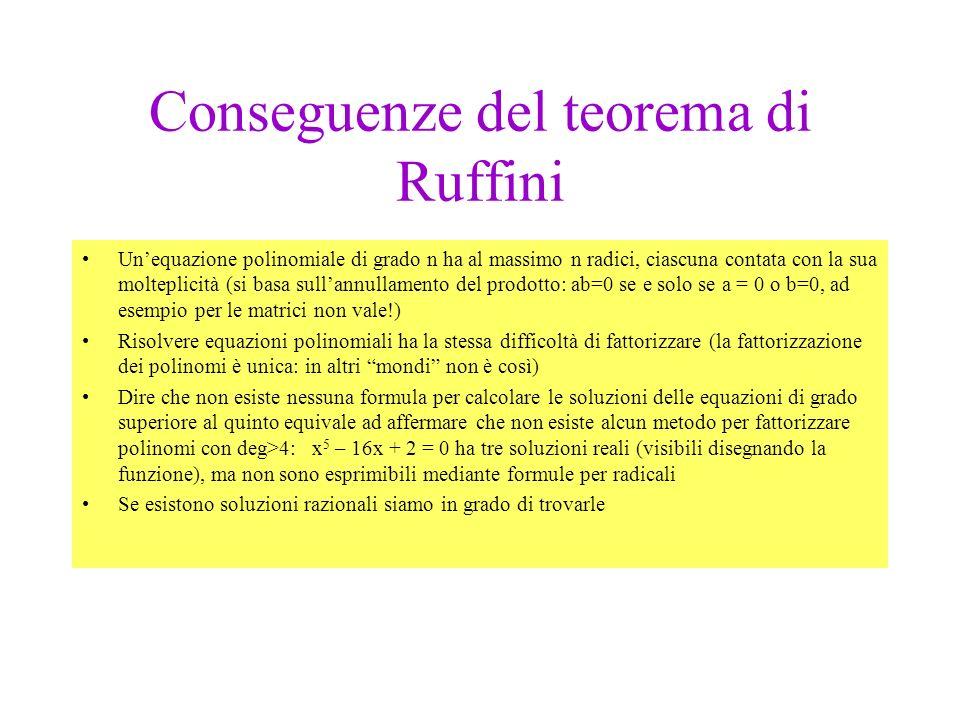Legame tra risoluzione e fattorizzazione Teorema di Ruffini: sia F(x) un polionmio di grado n e sia c un numero reale Allora c è radice di di F(x) se