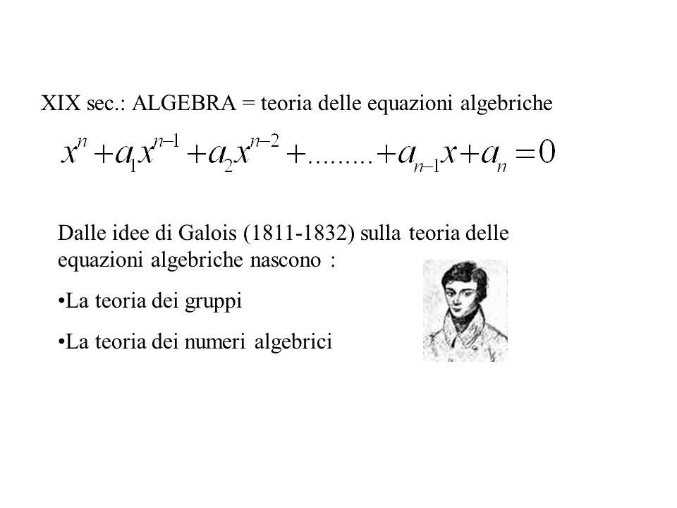 XIX sec.: ALGEBRA = teoria delle equazioni algebriche Dalle idee di Galois (1811-1832) sulla teoria delle equazioni algebriche nascono : La teoria dei gruppi La teoria dei numeri algebrici
