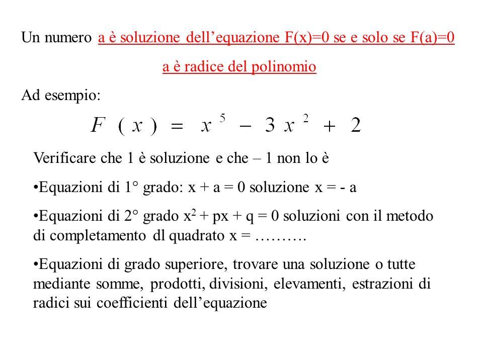Un numero a è soluzione dellequazione F(x)=0 se e solo se F(a)=0 a è radice del polinomio Ad esempio: Verificare che 1 è soluzione e che – 1 non lo è Equazioni di 1° grado: x + a = 0 soluzione x = - a Equazioni di 2° grado x 2 + px + q = 0 soluzioni con il metodo di completamento dl quadrato x = ……….