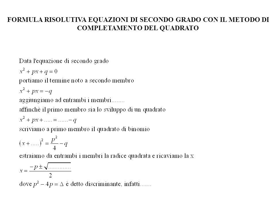 Un numero a è soluzione dellequazione F(x)=0 se e solo se F(a)=0 a è radice del polinomio Ad esempio: Verificare che 1 è soluzione e che – 1 non lo è