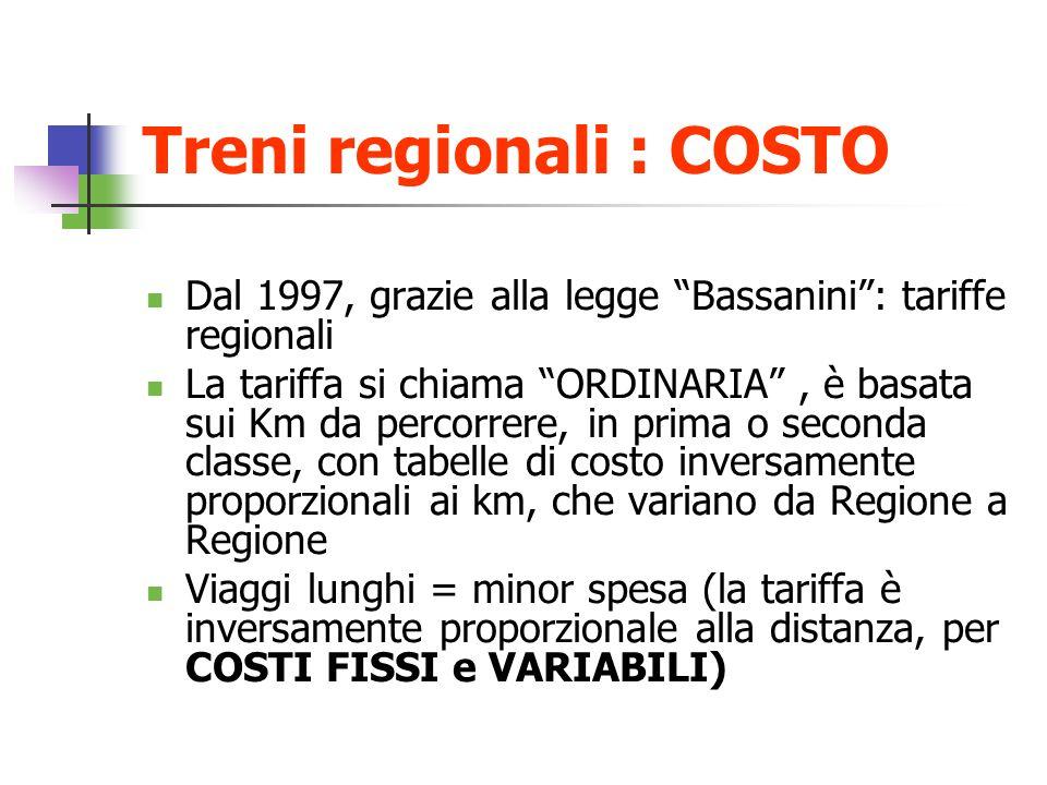 Treni regionali : COSTO Dal 1997, grazie alla legge Bassanini: tariffe regionali La tariffa si chiama ORDINARIA, è basata sui Km da percorrere, in pri