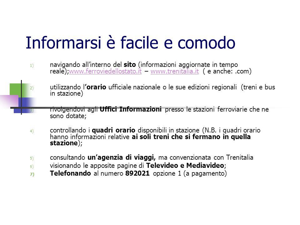 Informarsi è facile e comodo 1) navigando allinterno del sito (informazioni aggiornate in tempo reale);www.ferroviedellostato.it – www.trenitalia.it (