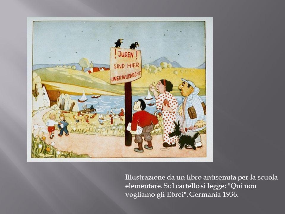 Illustrazione da un libro antisemita per la scuola elementare. Sul cartello si legge: