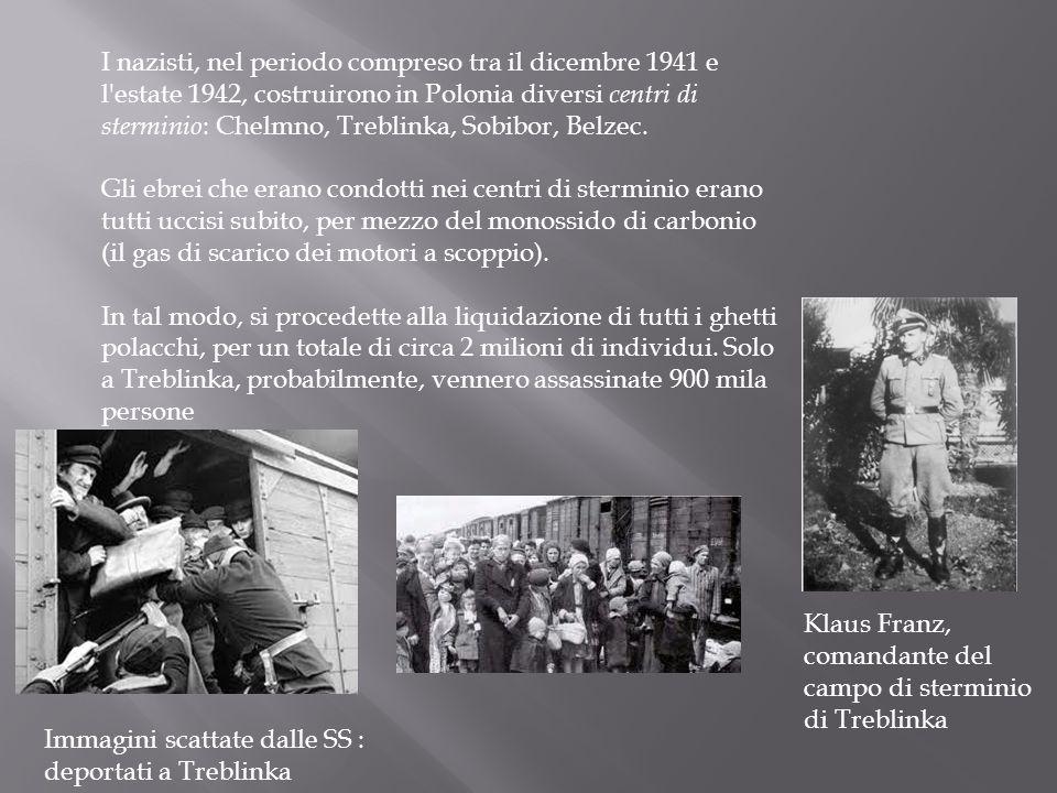 I nazisti, nel periodo compreso tra il dicembre 1941 e l'estate 1942, costruirono in Polonia diversi centri di sterminio : Chelmno, Treblinka, Sobibor