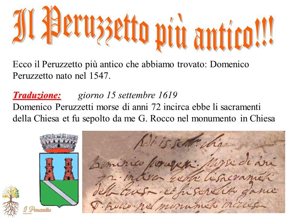 Casa Roma – S. Polo di Piave – 20 Maggio 2007 Ecco il Peruzzetto più antico che abbiamo trovato: Domenico Peruzzetto nato nel 1547. Traduzione: Traduz