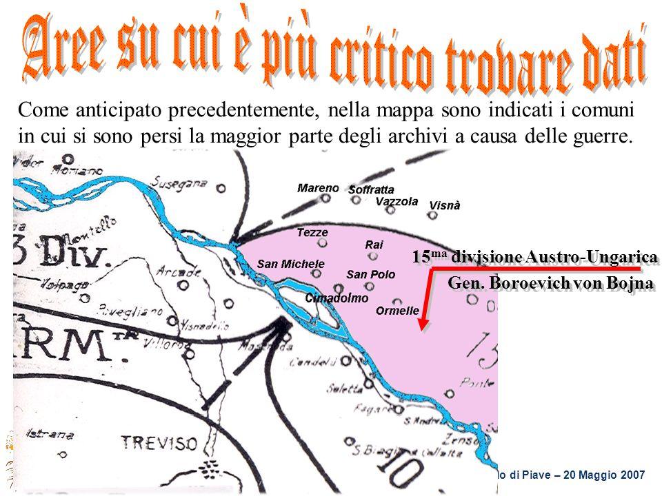 Casa Roma – S. Polo di Piave – 20 Maggio 2007 Come anticipato precedentemente, nella mappa sono indicati i comuni in cui si sono persi la maggior part