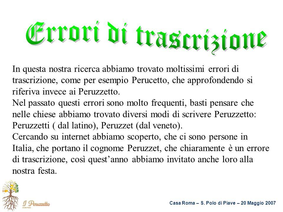 Casa Roma – S. Polo di Piave – 20 Maggio 2007 In questa nostra ricerca abbiamo trovato moltissimi errori di trascrizione, come per esempio Perucetto,