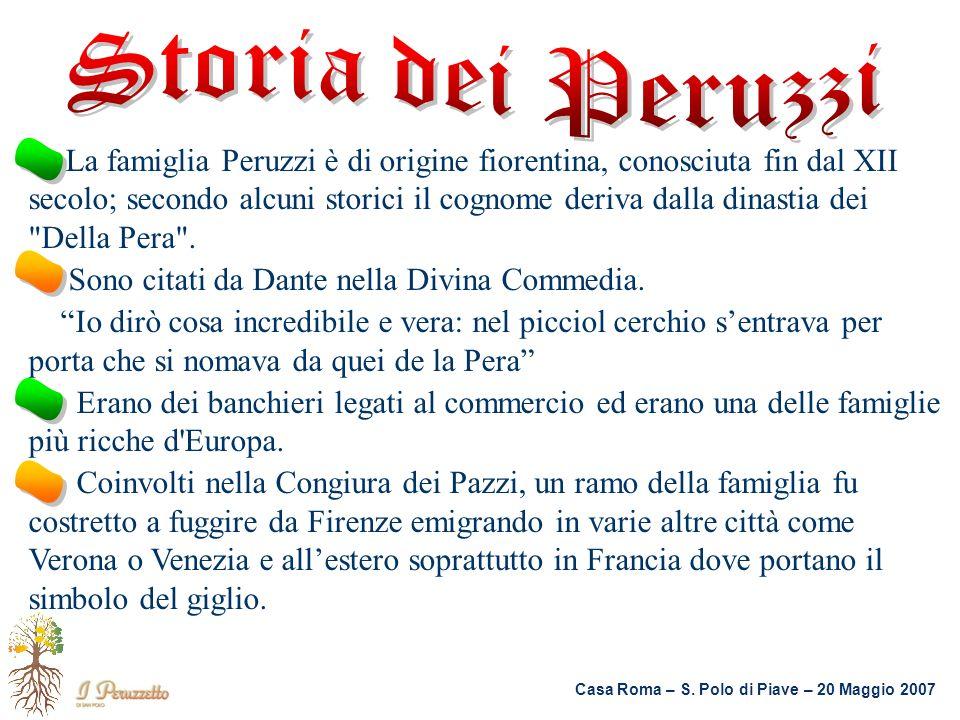 Casa Roma – S. Polo di Piave – 20 Maggio 2007 La famiglia Peruzzi è di origine fiorentina, conosciuta fin dal XII secolo; secondo alcuni storici il co