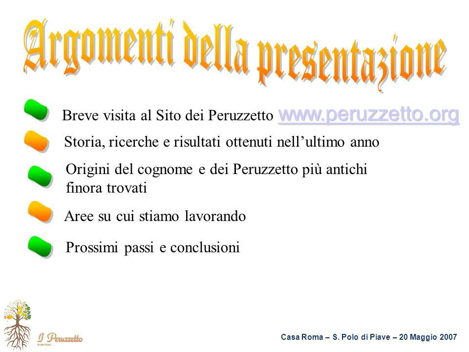 www.peruzzetto.org www.peruzzetto.org Breve visita al Sito dei Peruzzetto www.peruzzetto.org www.peruzzetto.org Origini del cognome e dei Peruzzetto p