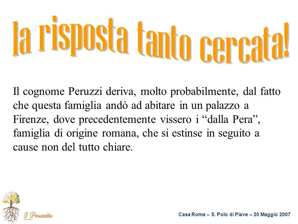 Casa Roma – S. Polo di Piave – 20 Maggio 2007 Il cognome Peruzzi deriva, molto probabilmente, dal fatto che questa famiglia andò ad abitare in un pala