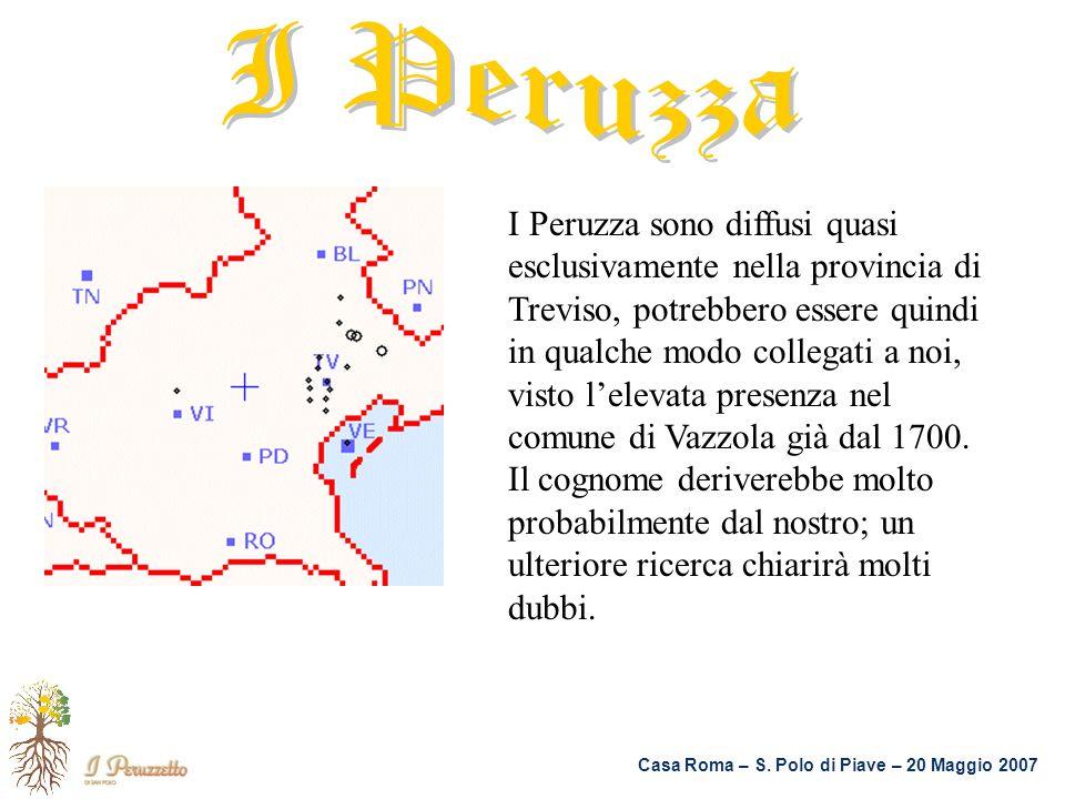 I Peruzza sono diffusi quasi esclusivamente nella provincia di Treviso, potrebbero essere quindi in qualche modo collegati a noi, visto lelevata prese