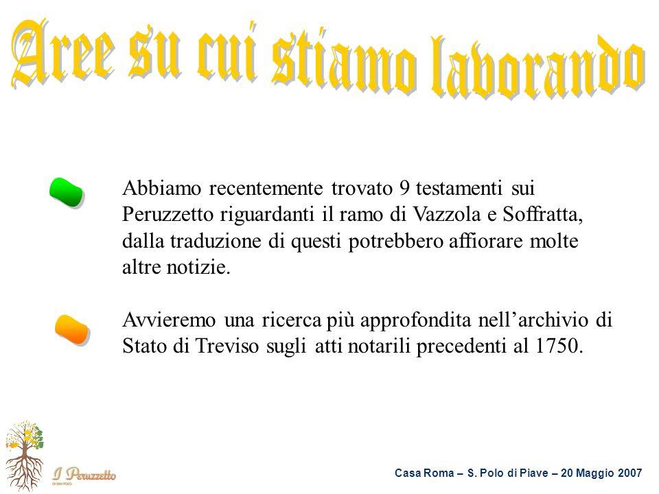 Casa Roma – S. Polo di Piave – 20 Maggio 2007 Abbiamo recentemente trovato 9 testamenti sui Peruzzetto riguardanti il ramo di Vazzola e Soffratta, dal