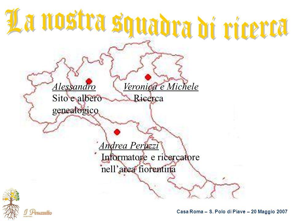 Casa Roma – S. Polo di Piave – 20 Maggio 2007 Alessandro Veronica e Michele Sito e albero Ricerca genealogico Andrea Peruzzi Informatore e ricercatore