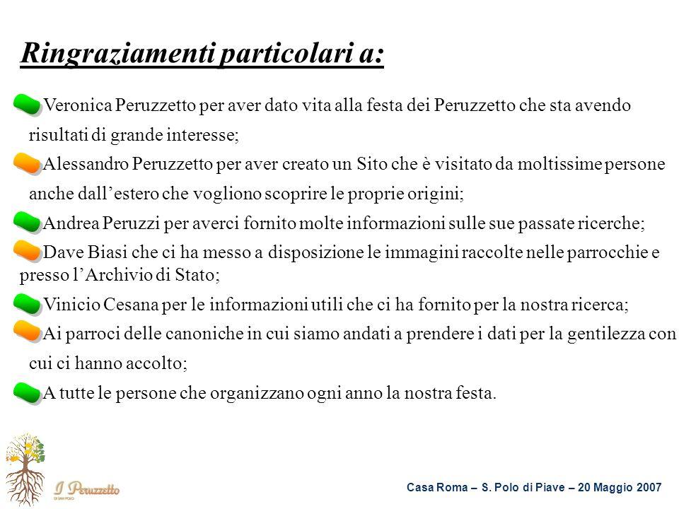 Casa Roma – S. Polo di Piave – 20 Maggio 2007 Ringraziamenti particolari a: Veronica Peruzzetto per aver dato vita alla festa dei Peruzzetto che sta a