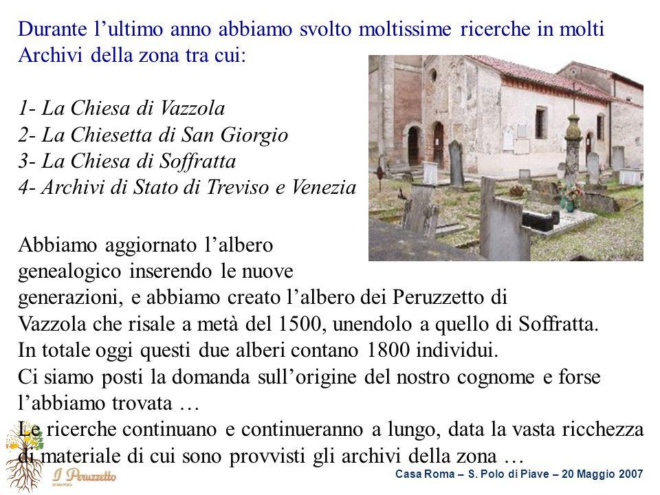 Casa Roma – S. Polo di Piave – 20 Maggio 2007 Durante lultimo anno abbiamo svolto moltissime ricerche in molti Archivi della zona tra cui: 1- La Chies