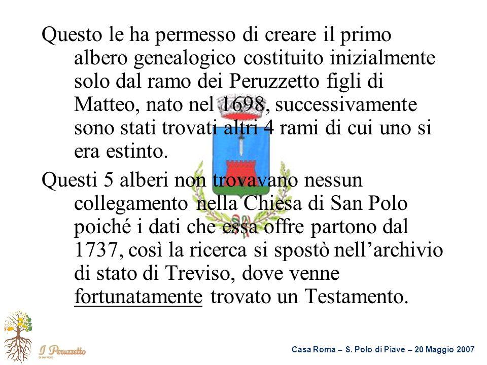Casa Roma – S. Polo di Piave – 20 Maggio 2007 Questo le ha permesso di creare il primo albero genealogico costituito inizialmente solo dal ramo dei Pe