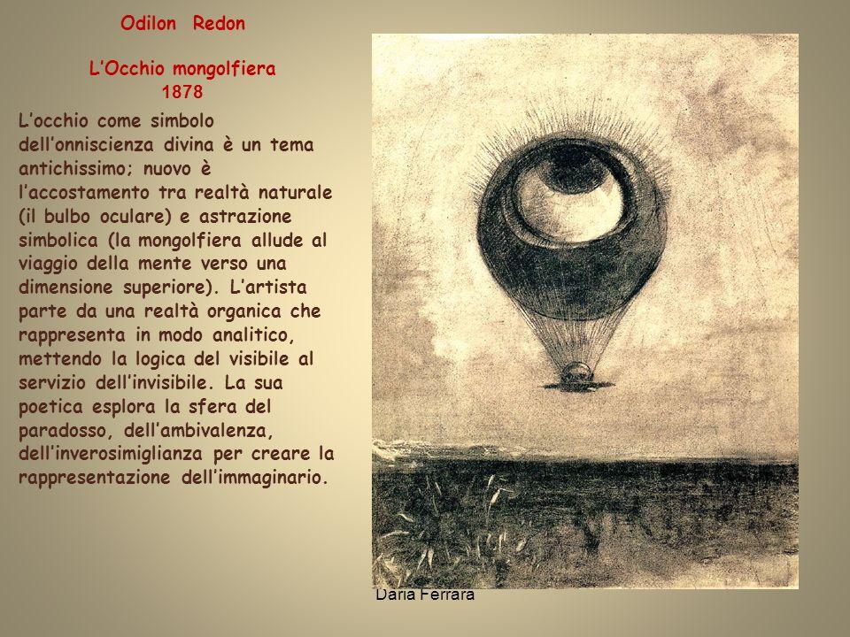 Daria Ferrara Locchio come simbolo dellonniscienza divina è un tema antichissimo; nuovo è laccostamento tra realtà naturale (il bulbo oculare) e astrazione simbolica (la mongolfiera allude al viaggio della mente verso una dimensione superiore).