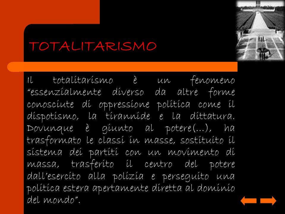 Il totalitarismo è un fenomeno essenzialmente diverso da altre forme conosciute di oppressione politica come il dispotismo, la tirannide e la dittatur