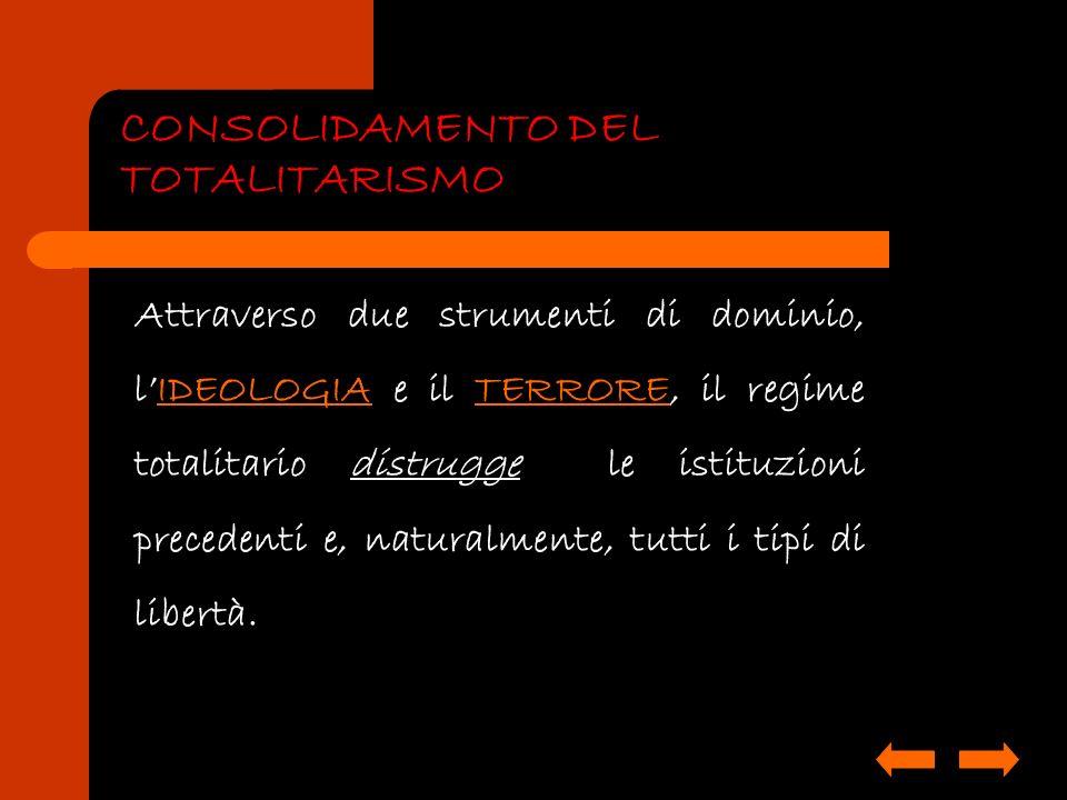 CONSOLIDAMENTO DEL TOTALITARISMO Attraverso due strumenti di dominio, lIDEOLOGIA e il TERRORE, il regime totalitario distrugge le istituzioni preceden