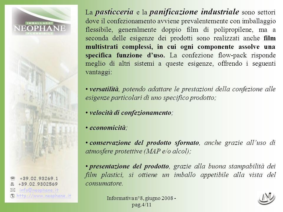 Informativa n°8, giugno 2008 - pag.4/11 +39.02.93269.1 +39.02.9302569 info@neophane.it http://www.neophane.it pasticceriapanificazione industriale La
