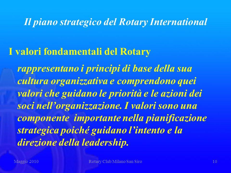 Il piano strategico del Rotary International I valori fondamentali del Rotary rappresentano i principi di base della sua cultura organizzativa e compr