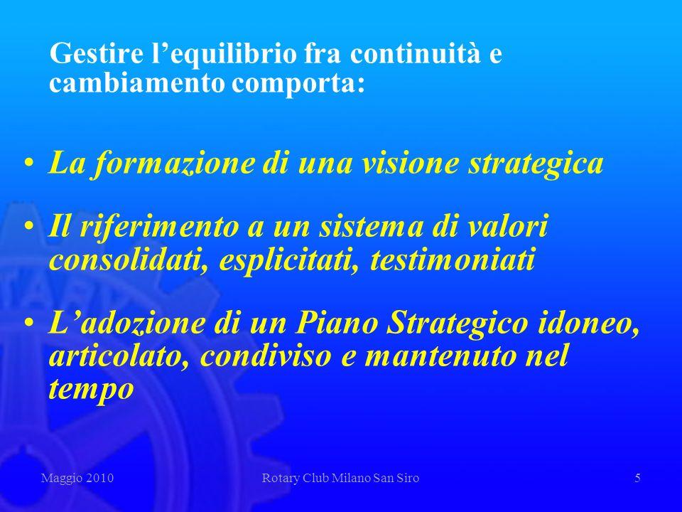 Gestire lequilibrio fra continuità e cambiamento comporta: La formazione di una visione strategica Il riferimento a un sistema di valori consolidati,