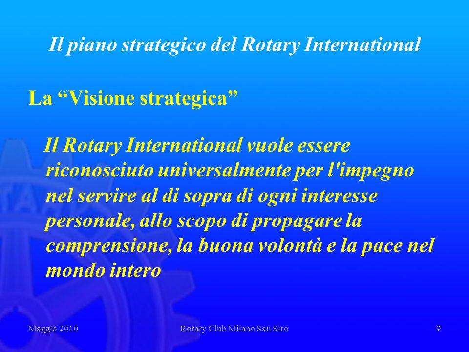 Il piano strategico del Rotary International La Visione strategica Il Rotary International vuole essere riconosciuto universalmente per l'impegno nel