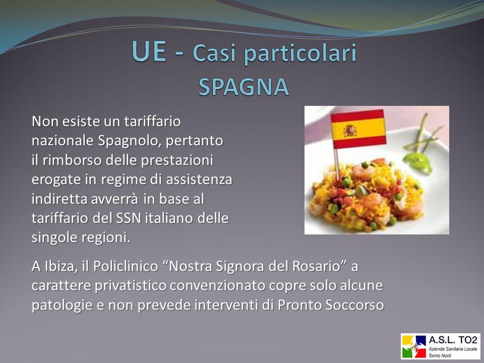 Non esiste un tariffario nazionale Spagnolo, pertanto il rimborso delle prestazioni erogate in regime di assistenza indiretta avverrà in base al tarif
