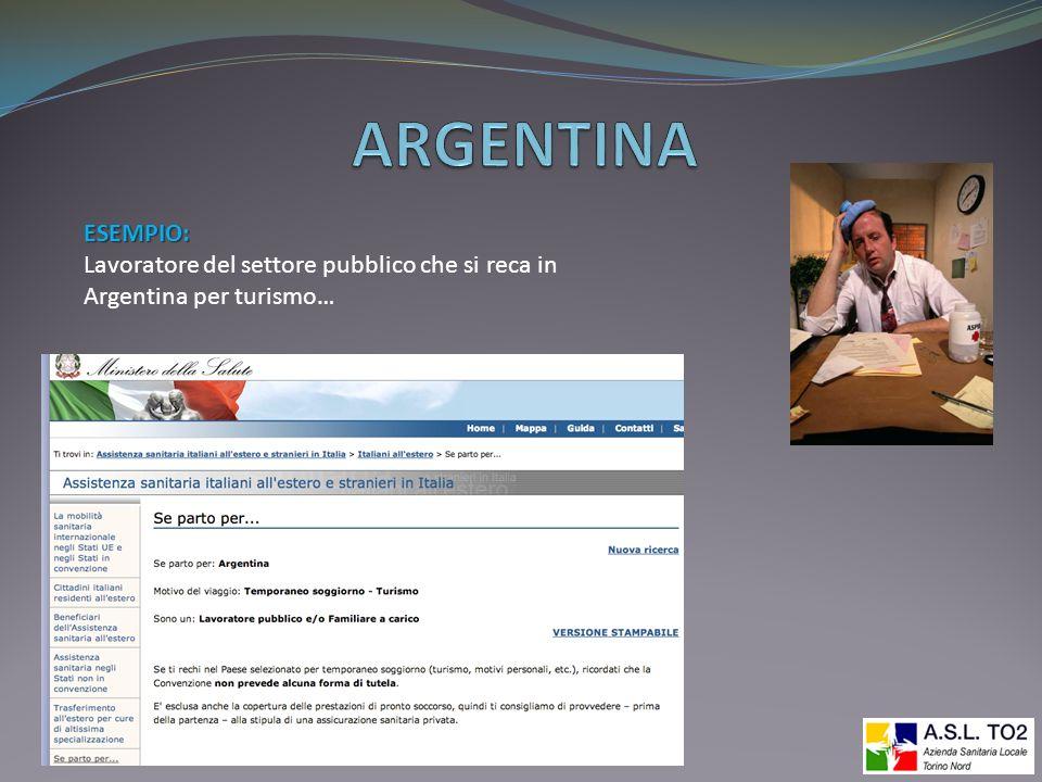 ESEMPIO: Lavoratore del settore pubblico che si reca in Argentina per turismo…