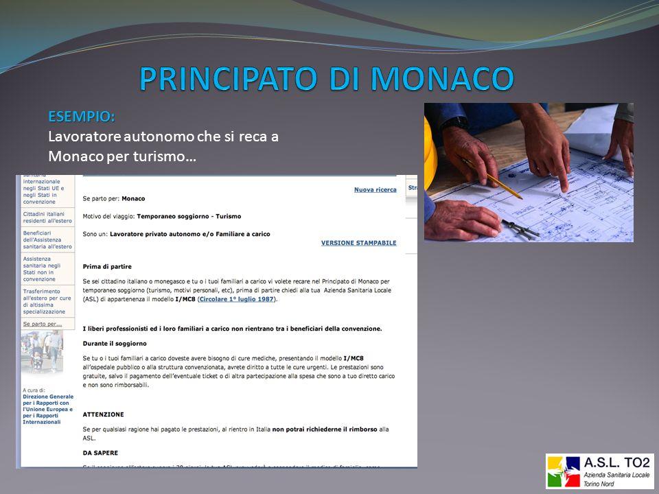 ESEMPIO: Lavoratore autonomo che si reca a Monaco per turismo…