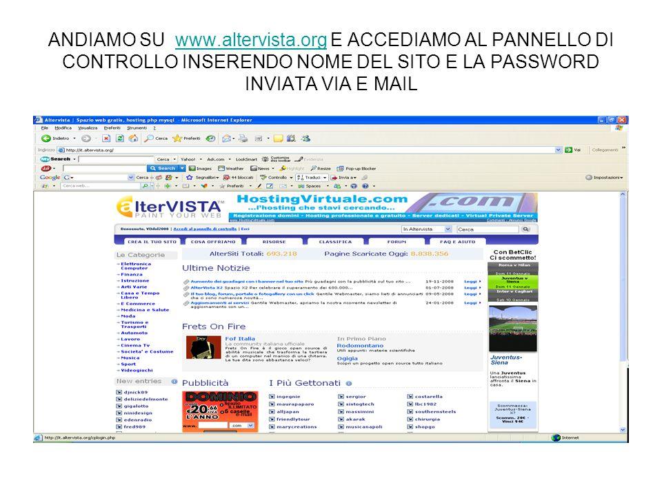 ANDIAMO SU www.altervista.org E ACCEDIAMO AL PANNELLO DI CONTROLLO INSERENDO NOME DEL SITO E LA PASSWORD INVIATA VIA E MAILwww.altervista.org