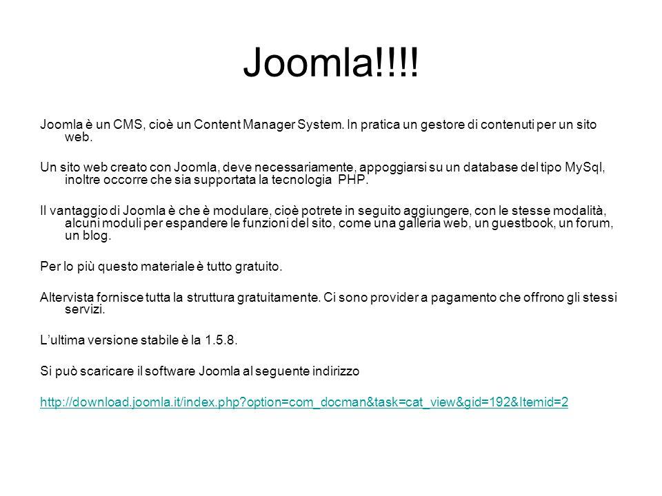 Joomla!!!! Joomla è un CMS, cioè un Content Manager System. In pratica un gestore di contenuti per un sito web. Un sito web creato con Joomla, deve ne