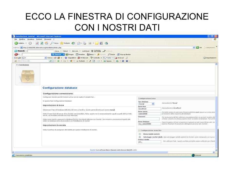 ECCO LA FINESTRA DI CONFIGURAZIONE CON I NOSTRI DATI