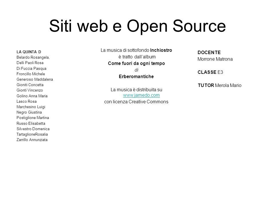 Siti web e Open Source LA QUINTA D Belardo Rosangela, Delli Paoli Rosa Di Fuccia Pasqua Froncillo Michele Generoso Maddalena Gioniti Concetta Gionti V