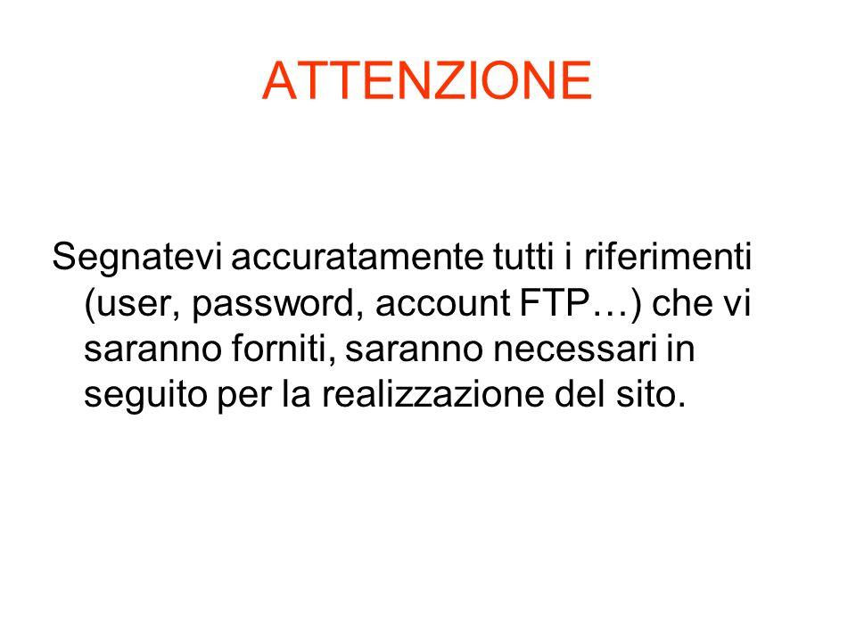 ATTENZIONE Segnatevi accuratamente tutti i riferimenti (user, password, account FTP…) che vi saranno forniti, saranno necessari in seguito per la real