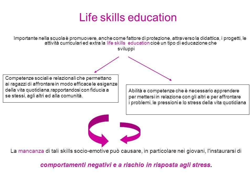 Life skills education Importante nella scuola è promuovere, anche come fattore di protezione, attraverso la didattica, i progetti, le attività curricu