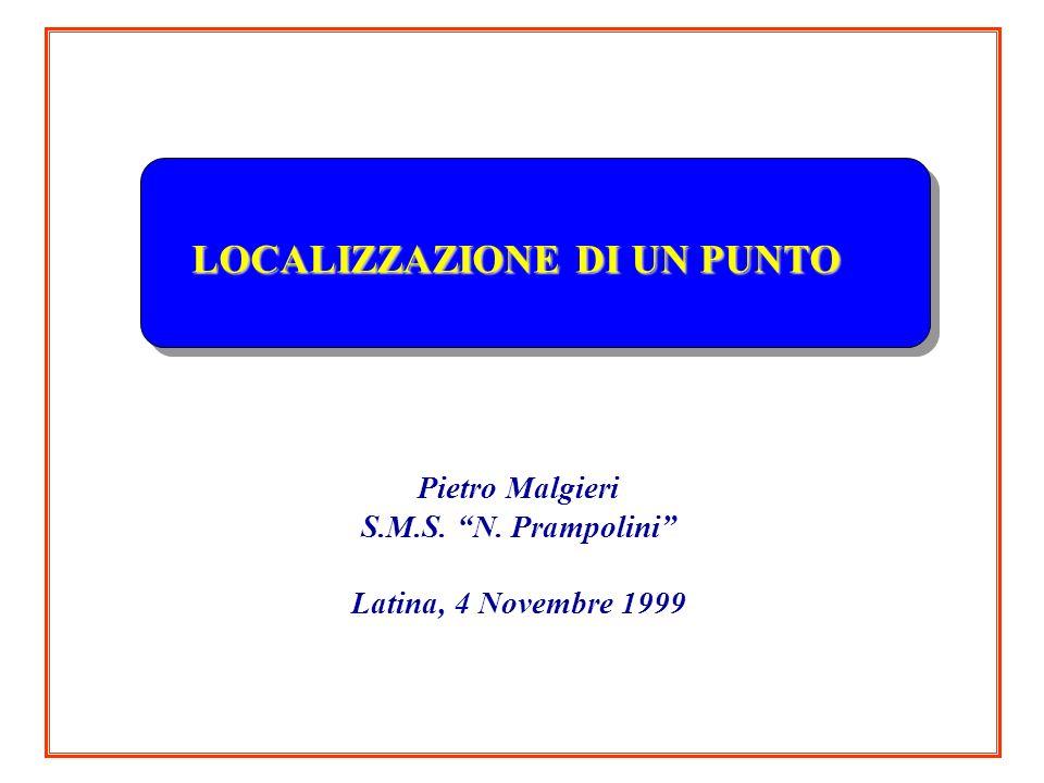 LOCALIZZAZIONE DI UN PUNTO Pietro Malgieri S.M.S. N. Prampolini Latina, 4 Novembre 1999