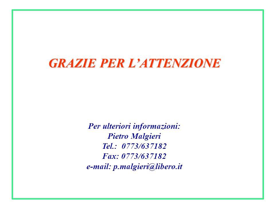 GRAZIE PER LATTENZIONE Per ulteriori informazioni: Pietro Malgieri Tel.: 0773/637182 Fax: 0773/637182 e-mail: p.malgieri@libero.it