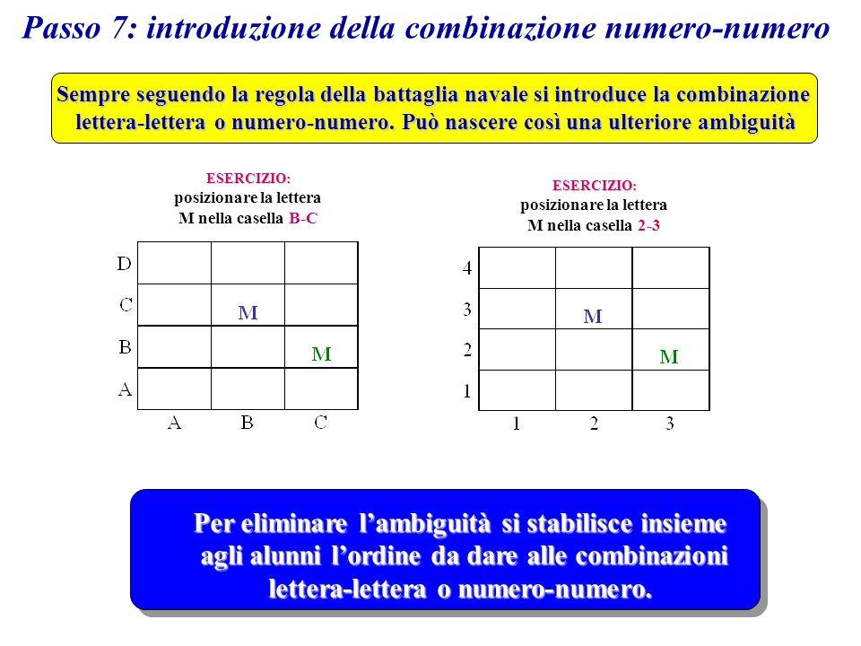 Passo 7: introduzione della combinazione numero-numero Sempre seguendo la regola della battaglia navale si introduce la combinazione lettera-lettera o numero-numero.