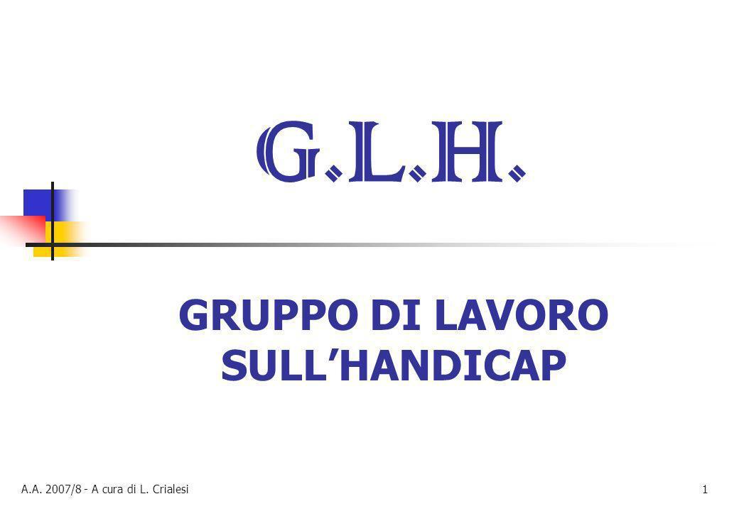 A.A. 2007/8 - A cura di L. Crialesi1 G.L.H. GRUPPO DI LAVORO SULLHANDICAP