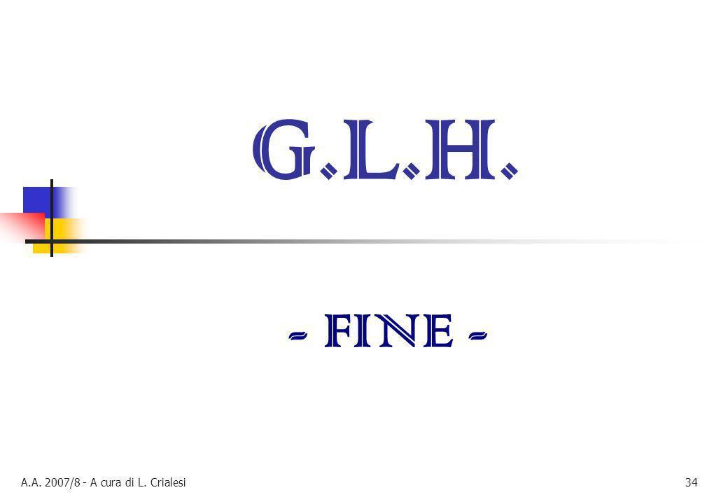 A.A. 2007/8 - A cura di L. Crialesi34 G.L.H. - FINE -