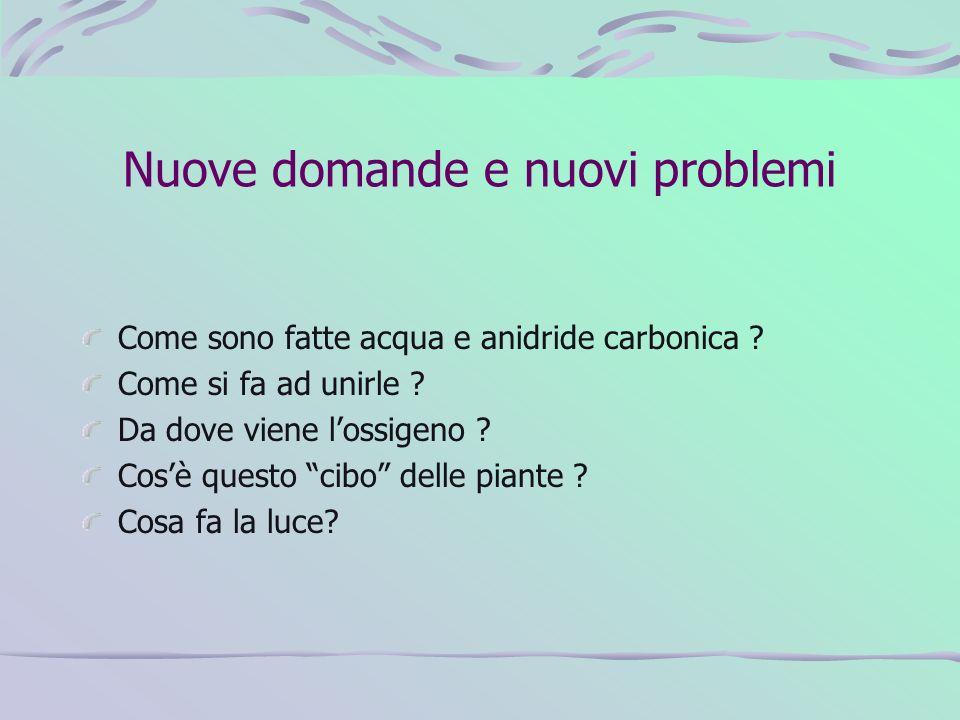 Nuove domande e nuovi problemi Come sono fatte acqua e anidride carbonica ? Come si fa ad unirle ? Da dove viene lossigeno ? Cosè questo cibo delle pi