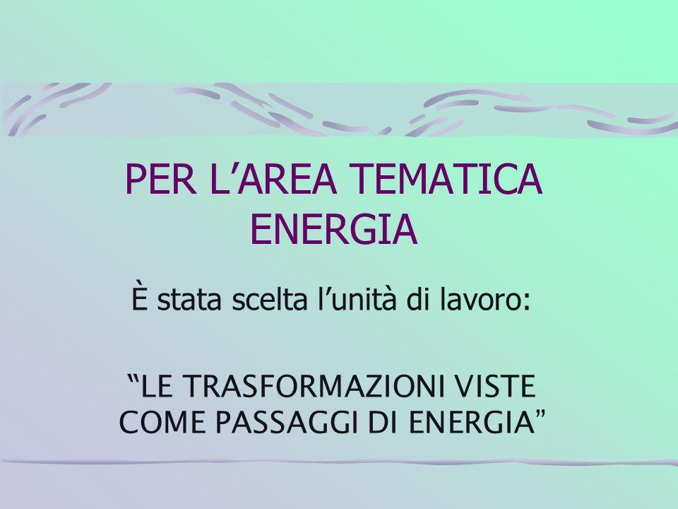 PER LAREA TEMATICA ENERGIA È stata scelta lunità di lavoro: LE TRASFORMAZIONI VISTE COME PASSAGGI DI ENERGIA
