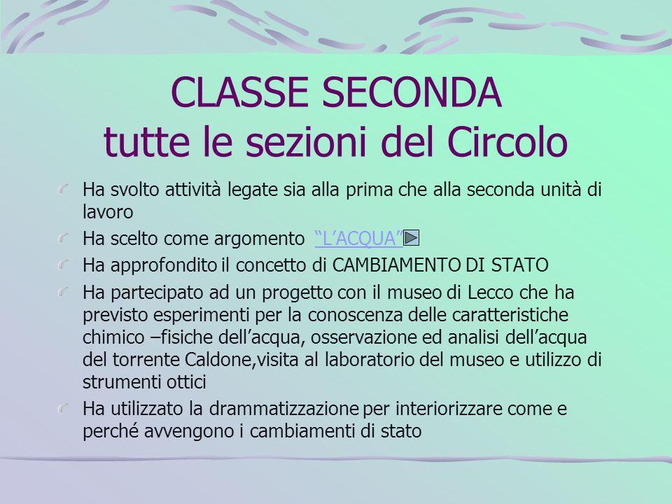 CLASSE SECONDA tutte le sezioni del Circolo Ha svolto attività legate sia alla prima che alla seconda unità di lavoro Ha scelto come argomento LACQUAL