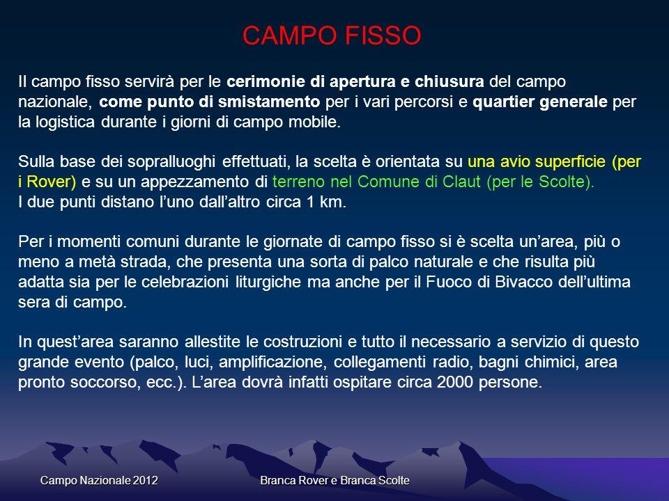 Campo Nazionale 2012Branca Rover e Branca Scolte CAMPO FISSO Il campo fisso servirà per le cerimonie di apertura e chiusura del campo nazionale, come