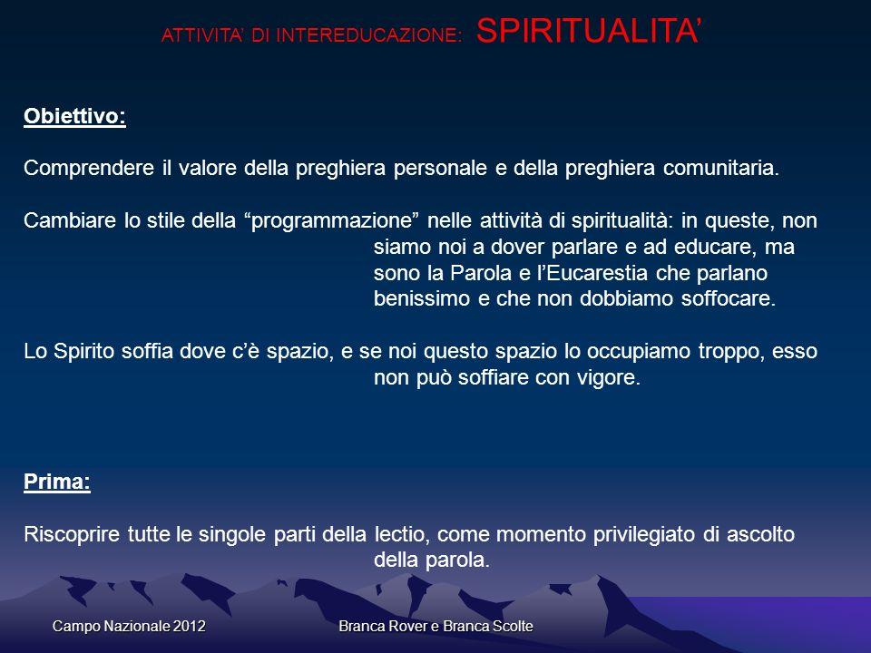 Campo Nazionale 2012Branca Rover e Branca Scolte ATTIVITA DI INTEREDUCAZIONE: SPIRITUALITA Obiettivo: Comprendere il valore della preghiera personale