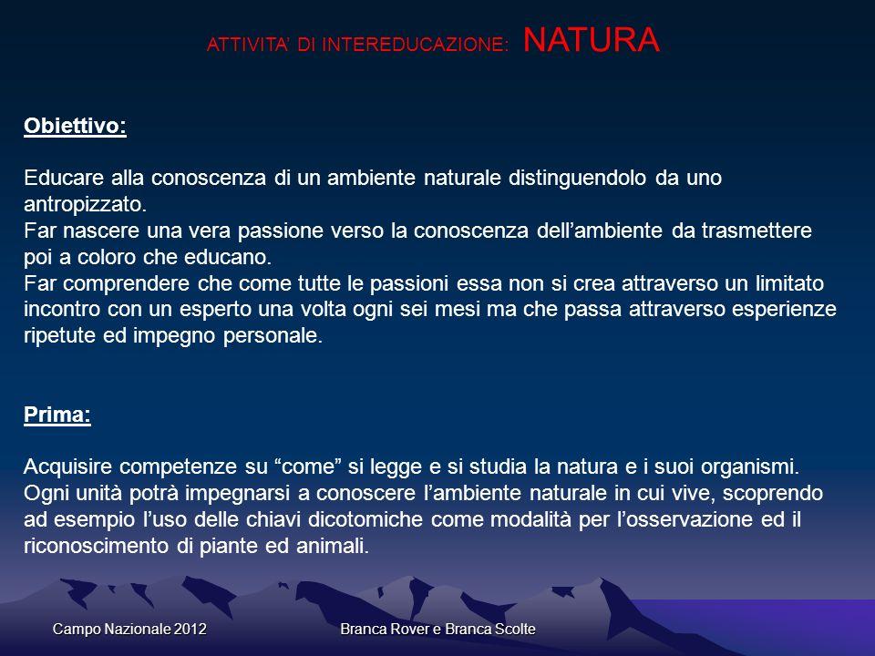 Campo Nazionale 2012Branca Rover e Branca Scolte ATTIVITA DI INTEREDUCAZIONE: NATURA Obiettivo: Educare alla conoscenza di un ambiente naturale distin