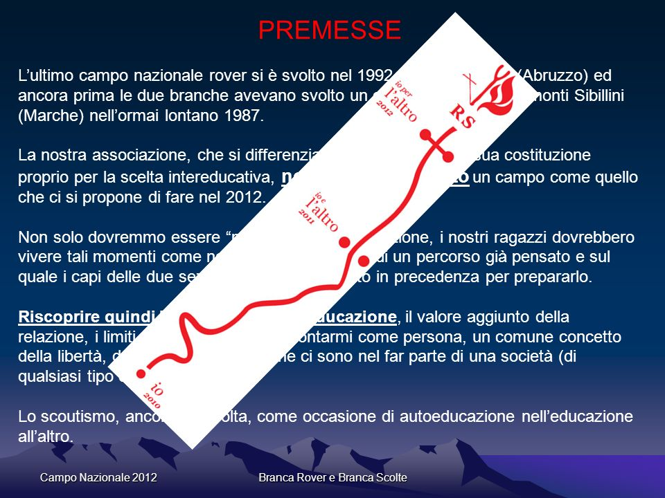 Campo Nazionale 2012Branca Rover e Branca Scolte PREMESSE Lultimo campo nazionale rover si è svolto nel 1992 sul Gran Sasso (Abruzzo) ed ancora prima
