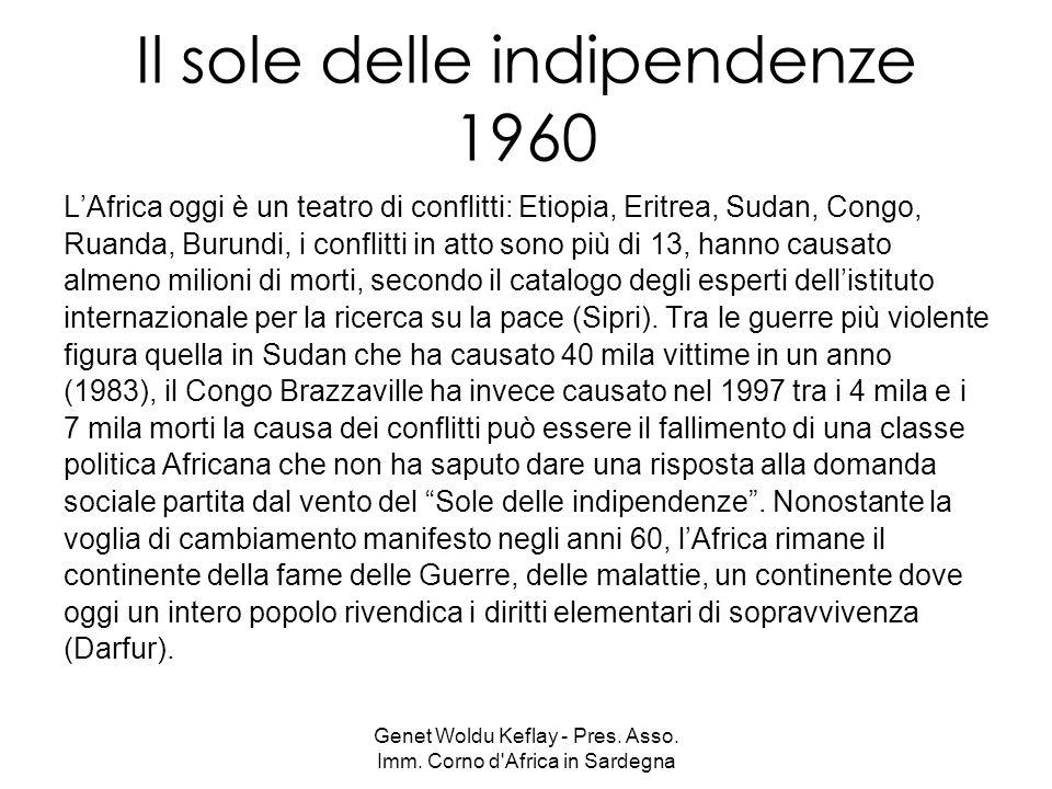 Genet Woldu Keflay - Pres. Asso. Imm. Corno d'Africa in Sardegna Il sole delle indipendenze 1960 LAfrica oggi è un teatro di conflitti: Etiopia, Eritr