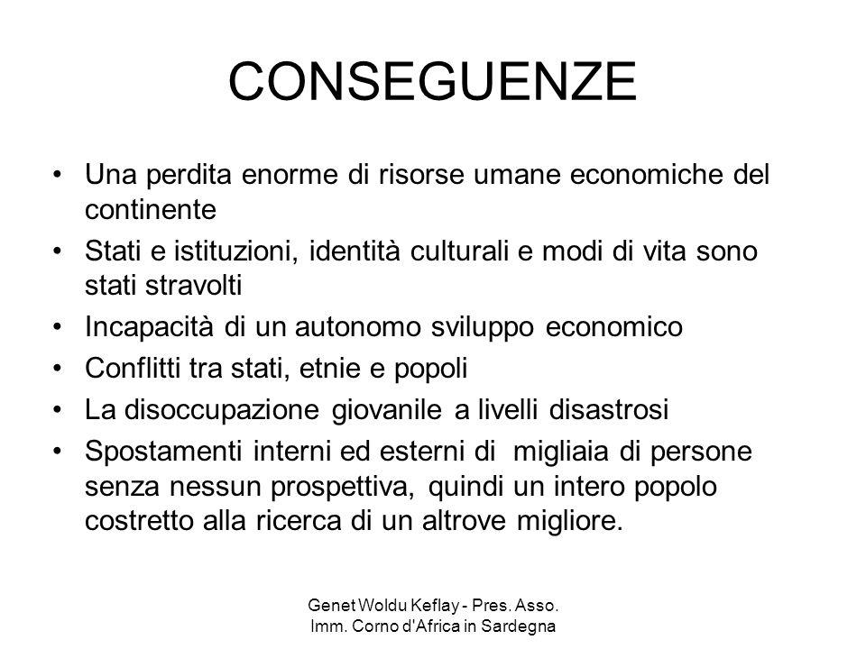 Genet Woldu Keflay - Pres. Asso. Imm. Corno d'Africa in Sardegna CONSEGUENZE Una perdita enorme di risorse umane economiche del continente Stati e ist